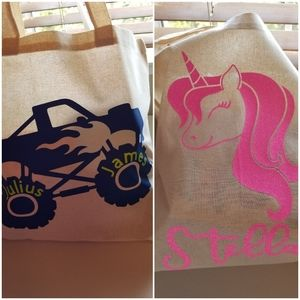 Kids tote bag personalized